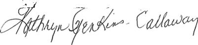 Image of Kathryn Jenkins- Callaway signature